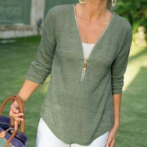 NWOT Soft Surroundings Valentina slub sweater M
